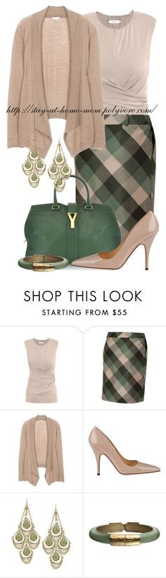 """""""Forest & Old Rose Plaid Skirt"""" by amber-1991 ❤ liked on Polyvore featuring MaxMara, Salvatore Ferragamo, Saint Tropez, Kate Spade, Kendra Scott and Alexis Bittar"""