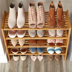 Women's Small Closet with Shoe Shelves Shoe Cubby, Closet Shoe Storage, Shoe Shelves, Small Closet Organization, Shoe Storage Cabinet, Shoe Closet, Shoe Racks, Cosmetic Organization, Organization Ideas