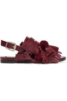 Slight heel Burgundy leather Buckle-fastening slingback strap Made in Italy