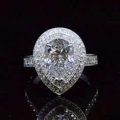 3.73 Ct. Pear Cut Dual Halo Diamond Engagement Ring - Recently Sold Engagement Rings
