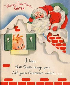 Vintage Christmas Card ~ Santa on Roof