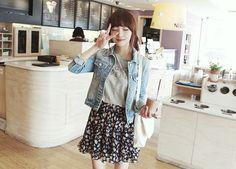 Tee + floral skirt + denim jacket