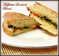 Muffuletta Sandwich bread - New Orleans max! Pasta Recipes, Bread Recipes, Muffuletta Sandwich, Grilled Bread, Cooking Challenge, Tasty, Yummy Food, Sandwiches, Food And Drink