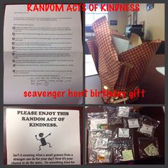 """Random acts of kindness birthday gift for husband, a """"pay it forward"""" scavenger hunt!"""
