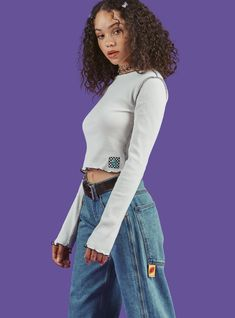 Put a little something sweet in your closet. The Suga Top features reverse hem construction and contrast scalloped hem detailing at cuffs, collar and bottom. Comes in multiple colorways. Aesthetic Fashion, Aesthetic Clothes, Look Fashion, 90s Fashion, Fashion Outfits, Fashion Tips, Fashion Trends, Trendy Outfits, Cute Outfits