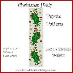 Christmas Holly Peyote Bracelet Pattern