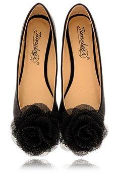 TIMELESS ROSEBUD Black Suede Ballerinas - SHOES   FLATS   Ballerinas   PRET-A-BEAUTE.COM