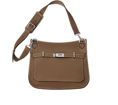 "Jypsière Unisex shoulder bag in taupe clemence bullcalf Measures 13.4"" x 10.2"" x 5.9"". Front flap closure with swivel clasp. Adjustable strap with 5 holes and a shoulder pad for comfort.Inside includes front zip pocket, back large pocket with gusset and small pocket for cell phones."