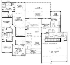 Floor Plans AFLFPW12642 - 1 Story Contemporary/Modern House Plans Home with 4 Bedrooms, 3 Bathrooms and 5,723 total Square Feet