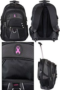 Pink Ribbon Rolling Backpack at The Breast Cancer Site