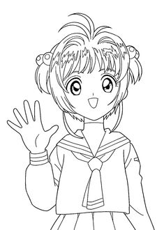 Chibi Sakura And Kero From Cardcaptor Sakura Coloring Page Chibi