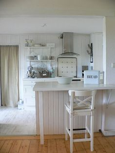 Bar, Kitchen. Living Room. White, Grey, Black, Chippy, Shabby Chic, Whitewashed, Cottage, French Country, Rustic, Swedish decor Idea. ***Pinned by oldattic***