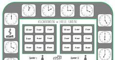 spelbord klokkijken hele uren.pdf School 2017, Pre School, School Hacks, Primary School, Good Company, Bingo, Clock, Teaching, Math