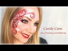 Sweet Candy Cane Face Painting and Makeup - YouTube