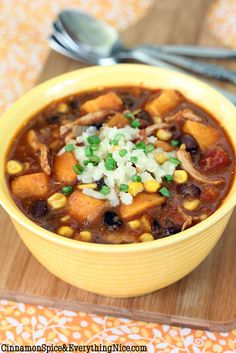 "Black Bean, Sweet Potato, & Chicken Chili - after a couple of weeks of salads and grilling, the Hubs was asking for a heartier dinner.  This flavorful, spicy ""throw together in minutes"" chili fit the bill, and was delicious, too.  Plus, it was a great destination for some leftover...grilled chicken!"