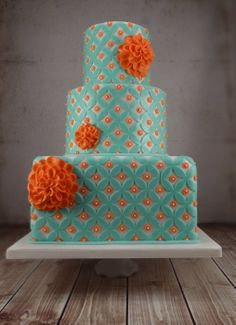 Coral Mums and Aqua  Wedding  Cake ~  Fantastic details!!