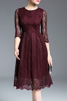 Dresses For Women - Shop Designer Dresses Online Fashion Sale Pretty Outfits, Pretty Dresses, Beautiful Outfits, Dress Skirt, Lace Dress, Dress Up, Lace Burgundy Dress, Deep Burgundy, Burgundy Color