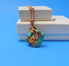 Gemstone Necklace Girlfriend Gift, Unique Wire Wrap, Turquoise Howlite, Copper Wrapped, Pendant Style, Handmade Jewelry, Artistic Accessory
