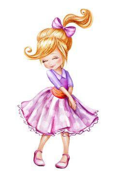 Linda linda menina tímida - ilustração de arte em vetor