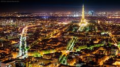 Paris Lights by Michael Wiejowski, 500px. Paris, from Montparnasse tower overlooking the city.