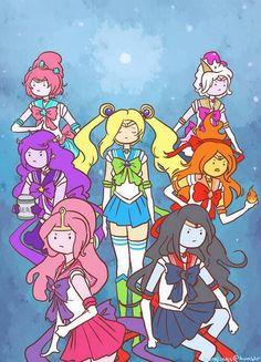 Sailor scouts adventure time! Fiona, bubblegum, flame princess, marceline, ect