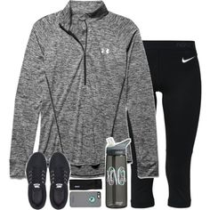 A fashion look from February 2016 featuring Under Armour activewear tops, NIKE activewear pants and NIKE athletic shoes. Browse and shop related looks.