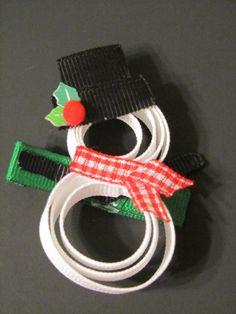 Christmas Snowman Hair clip by ThePlaygroundDivas on Etsy, $5.00