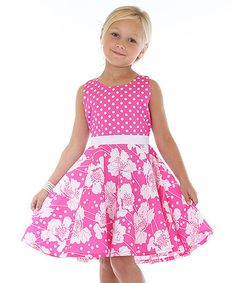 Mikko Kids Hot Pink & White Floral A-Line Dress - Toddler & Girls Girls Dresses Sewing, Frocks For Girls, Kids Frocks, Toddler Girl Dresses, Toddler Outfits, Kids Outfits, Toddler Girls, Baby Outfits, Toddler Fashion