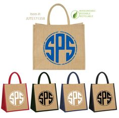 """Custom printed Jute Burlap Tote Bags made from quality strong naturally Eco-friendly materials. This tote is laminated on the inside for added strength and durability. Features a large 6"""" gusset with rope handles. Perfect for shopping, groceries, corporate events, branding, the beach, gifts, holidays, weddings, events, trade shows and more."""