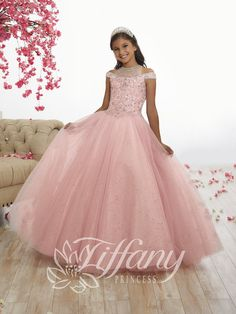 Girls Long Cold Shoulder Dress by Tiffany Princess 13525 Girls Fancy Dresses, Girls Pageant Dresses, Little Girl Dresses, Flower Girl Dresses, Flower Girls, Pagent Dresses, Quinceanera Dresses, Party Dresses, Tulle Ball Gown