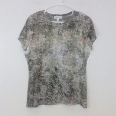 Coldwater Creek Medium 10 12 Short Sleeve PM220 Semi sheer slubbed fabric with a tattoo style print. Brown and green with white and a hint of peach. Coldwater Creek Tops Blouses