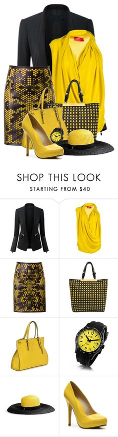 """""""Yellow & Black"""" by flowerchild805 ❤ liked on Polyvore featuring Lanvin, Kaviar Gauche, Marni, RABEANCO, Kennett, Emilio Pucci and Michael Antonio"""