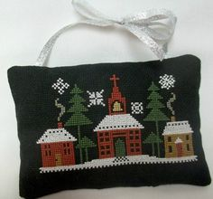 Winter Scene Cross Stitched Hanging Pillow / by luvinstitchin4u, $19.00