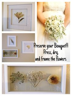 DIY Wedding Bouquet Preservation:  This is how I preserved my wedding bouquet flowers, by pressing and drying them then mounting them and framing. I think it's much better than regular preserving and a great way to display your bouquet!
