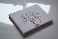 Personalised family tree fingerprint thumbprint keepsake grandchildren gift wedding guestbook canvas