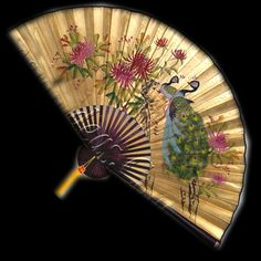 Image detail for -Wall Fan 70 Inch Beautiful Peacocks in Plume with Golden Background ...