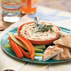 White Bean Dip w Rosemary Sage. Prepare the dip up to a day in advance to give the flavors a chance to meld. In addition to pita wedges, you can serve crudités for dipping. Light Appetizers, Quick And Easy Appetizers, Easy Appetizer Recipes, Healthy Appetizers, Healthy Snacks, Healthy Recipes, Appetizer Ideas, Party Recipes, Dip Recipes