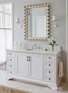 Awesome with the matte gold mirror! Would need to do white cabnets. benjamin moore gray owl in a bathroom with white vanity and mirror. Light Grey Paint Colors, Best Paint Colors, Wall Colours, Gray Owl Paint, Benjamin Moore Grey Owl, Benjamin Moore Intense White, White Vanity, White Mirror, White Bathroom
