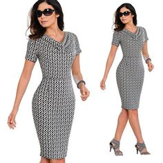 0dfb018cff Summer Women Vintage Leopard Party Office Dress Sexy Short Sleeve Bodycon  Casual Pencil Business Dress-
