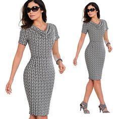 Summer Women Vintage Leopard Party Office Dress Sexy Short Sleeve Bodycon  Casual Pencil Business Dress- 230f68eea