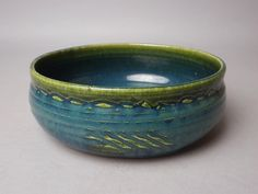 Gorgeous and Large Vintage Oribe Kashiki of Rare Blue and Green  Colors