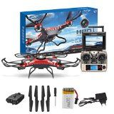 JJRC H8D 6-Axis 2.4Ghz Gyro RTF RC Quadcopter Helicopter Drone with 5.8G 2MP HD Camera + Transmitter FPV Monitor Real Time Transport Video Headless Mode+ 2 Battery (Red+Black-) - http://dronesheaven.ianjweboffers.com/jjrc-h8d-6-axis-2-4ghz-gyro-rtf-rc-quadcopter-helicopter-drone-with-5-8g-2mp-hd-camera-transmitter-fpv-monitor-real-time-transport-video-headless-mode-2-battery-redblack/