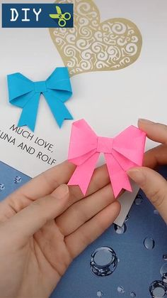 Origami Bow, Origami Gift Box, Paper Crafts Origami, Origami Organiser, Baby Crafts, Crafts For Kids, Student Crafts, Paper Flowers Craft, Christmas Origami