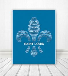 St Louis, St Louis Print, St Louis Neighborhoods, St Louis Art, Fleur De Lis,  St Louis Poster, St Louis Sign, Custom Color - 29.00