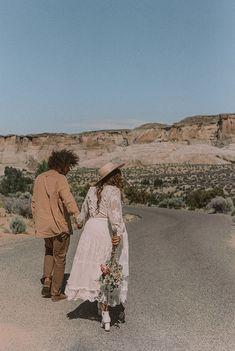 A DESERT ELOPEMENT – Spell Bohemian Wedding Inspiration, Bohemian Wedding Dresses, Bohemian Style, Bohemian Weddings, Work Travel, He's Beautiful, Fake Flowers, Great Friends, My Flower