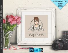Square #T02 Ornate 10x10 White Black Matted Unmatted Frame on Table Camera Tulips, 4 Print Display Mockups PNG PSD PSE 25x25cm Custom colors