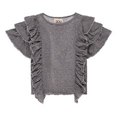 Ruffled Side Striped Top-product
