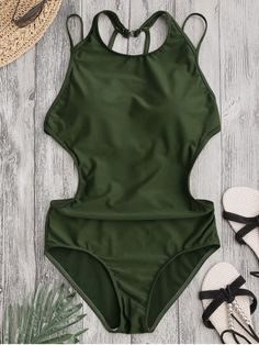 36187ab9ae Padded Back Strappy Swimwear - ARMY GREEN M Praia Vero, Swimsuit Cover Ups,  One
