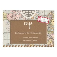 Rustic Vintage World Map Traveling Travel Theme Wedding RSVP Card
