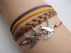 Braceletantique silver lover bird braceletbird wax by infinitywish, $6.99